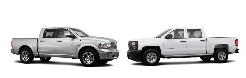 2014 Ram 1500 (on left) vs 2014 Chevrolet Silverado (on right)