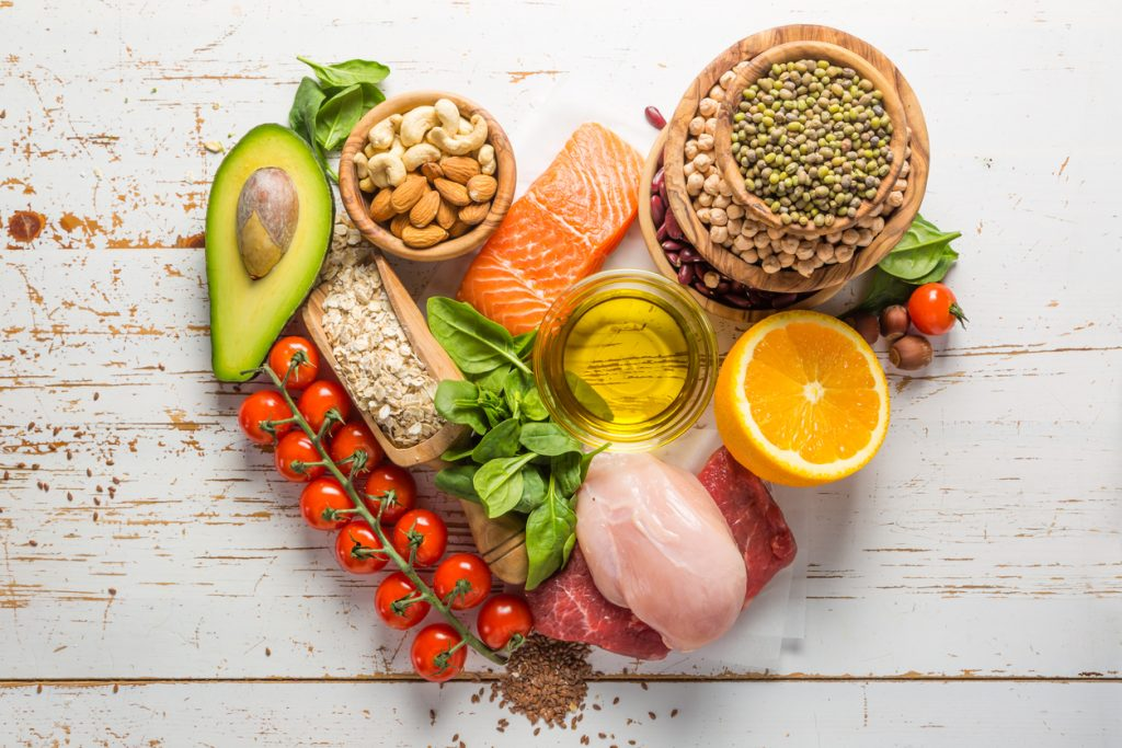 Selection of healthy food to help you eat clean